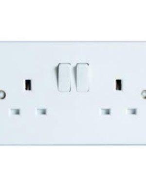Dencon Switched Socket White Rounded Edge 2 Gang 13Amp