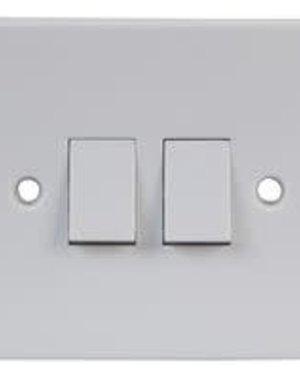 Pro-Elec Light Switch White 2 Gang 2 Way
