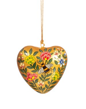 Sass & Belle Kashmiri Floral Heart with Bee Paper Mache Hanging Decoration
