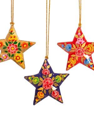 Sass & Belle Kashmiri Paper Mache Floral Star Assorted