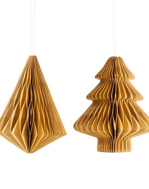 Sass & Belle Kraft Tree & Diamond Paper Honeycomb Hanging Decoration Assorted