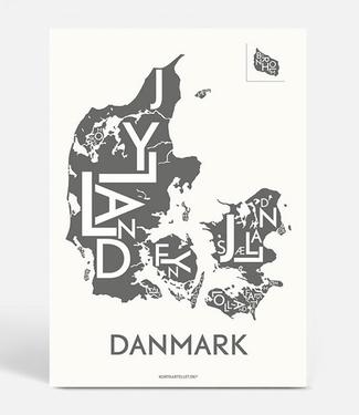 Kortkartellet Kortkartellet A5 Mini Poster Denemarken Antraciet
