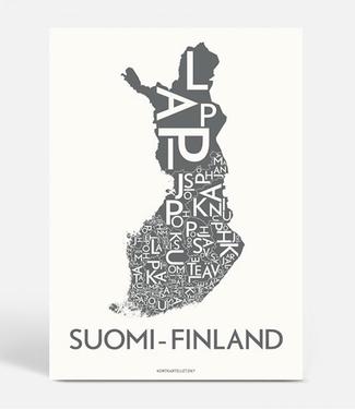 Kortkartellet Kortkartellet A5 Mini Poster Suomi-Finland Antraciet