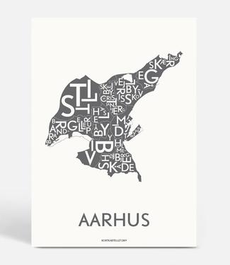 Kortkartellet Kortkartellet A5 Mini Poster Aarhus Antraciet