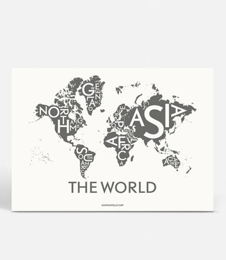 Kortkartellet Kortkartellet The World A5 Mini Poster  Antraciet