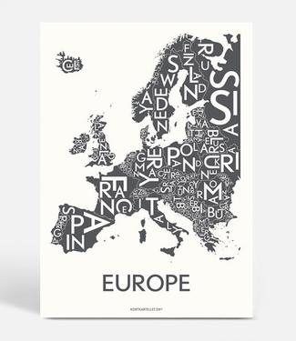 Kortkartellet Kortkartellet Europe A5 Mini Poster  Antraciet