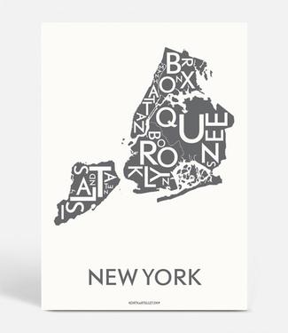 Kortkartellet Kortkartellet New York A5 Mini Poster  Antraciet