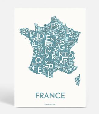 Kortkartellet Kortkartellet Poster France Staalblauw 40x55