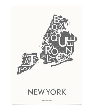 Kortkartellet Kortkartellet Poster New York Grijs 40x55 Antraciet