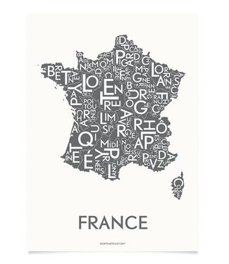 Kortkartellet Kortkartellet Poster France Antraciet 50x70