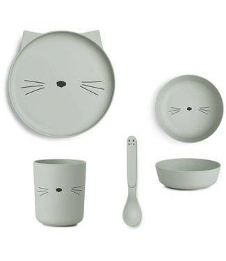 Liewood Liewood Kinderservies Set Bamboe Mint Kat