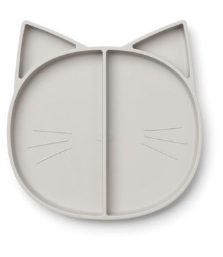 Liewood Liewood Siliconen Kat Kinderbord Lichtgrijs
