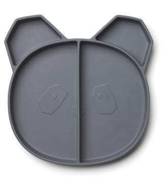 Liewood Liewood Silicone Children's Plate Panda Dark Grey