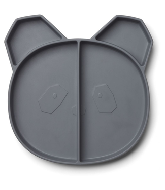 Liewood Liewood Siliconen Kinderbord Panda Donkergrijs