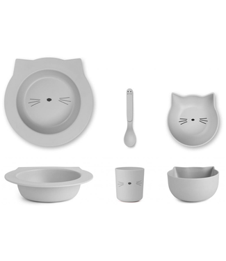 Liewood Liewood Bamboo Cat Grey Baby Dinner Set