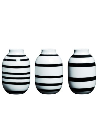 Kähler Design Kähler Design Set of 3 Omaggio Mini Vase Black H80mm