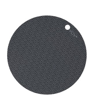 OYOY OYOY Placemat Dark Grey White Dot Round