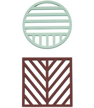 OYOY OYOY Silicone Coasters Aubergine  Mint
