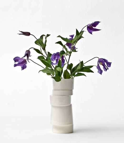 Lars Rank Vase Stacked White Mini