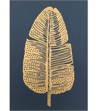 Monika Petersen Monika Petersen Lino Print Gold Feather Indigo A4