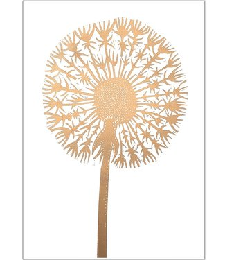 Monika Petersen Monika Petersen Lino Print Gold Dandelion  White A3
