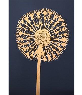 Monika Petersen Monika Petersen Lino Print Paardenbloem Goud Indigo A3