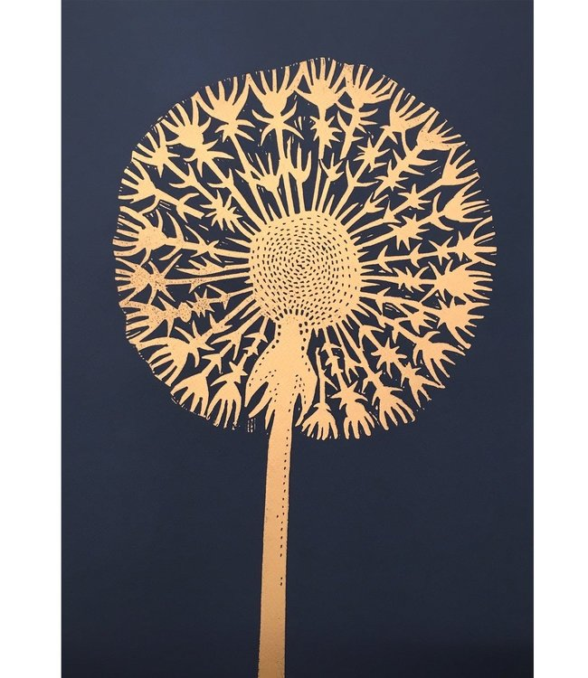 Monika Petersen Monika Petersen Lino Print Gold Dandelion Indigo A3