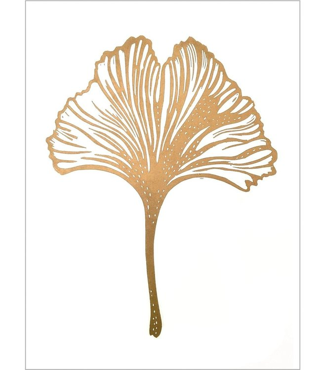 Monika Petersen Monika Petersen Lino Print Gold Gingko  White A3