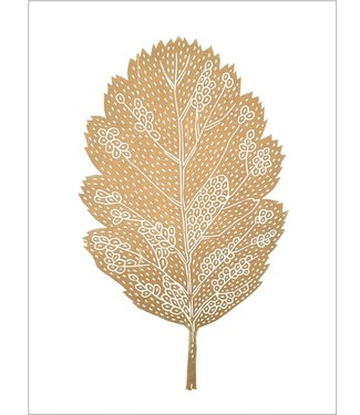 Monika Petersen Monika Petersen Lino Print Gold Oak Leaf  White A3