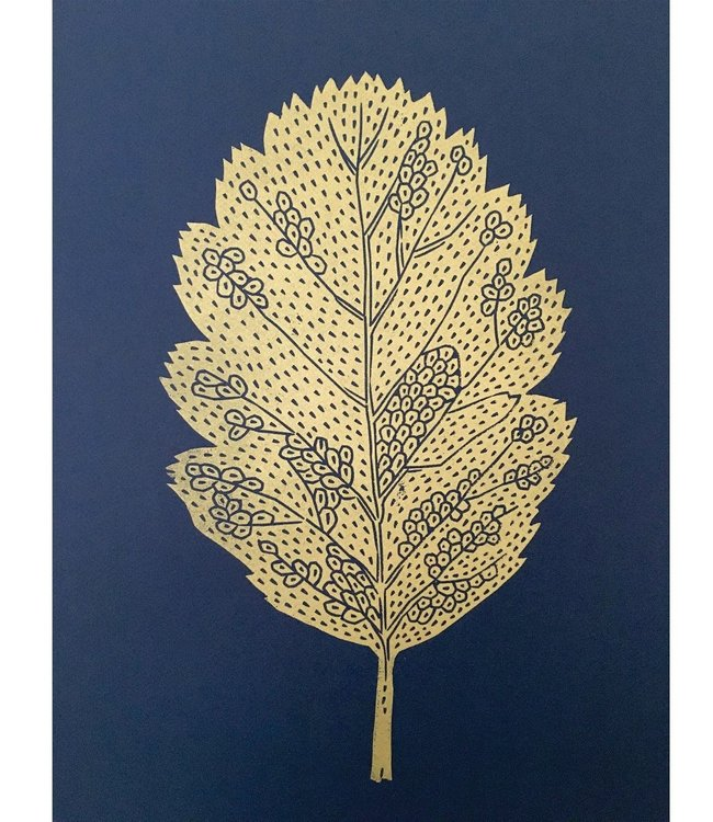 Monika Petersen Monika Petersen Lino Print Gold Oak Leaf  Indigo A3