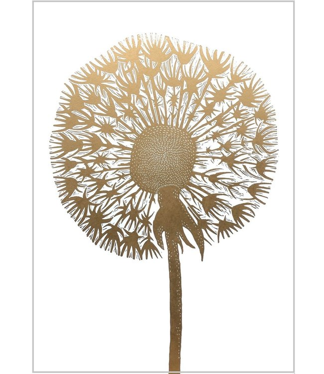 Monika Petersen Monika Petersen Lino Print Gold Dandelion  White 50x70