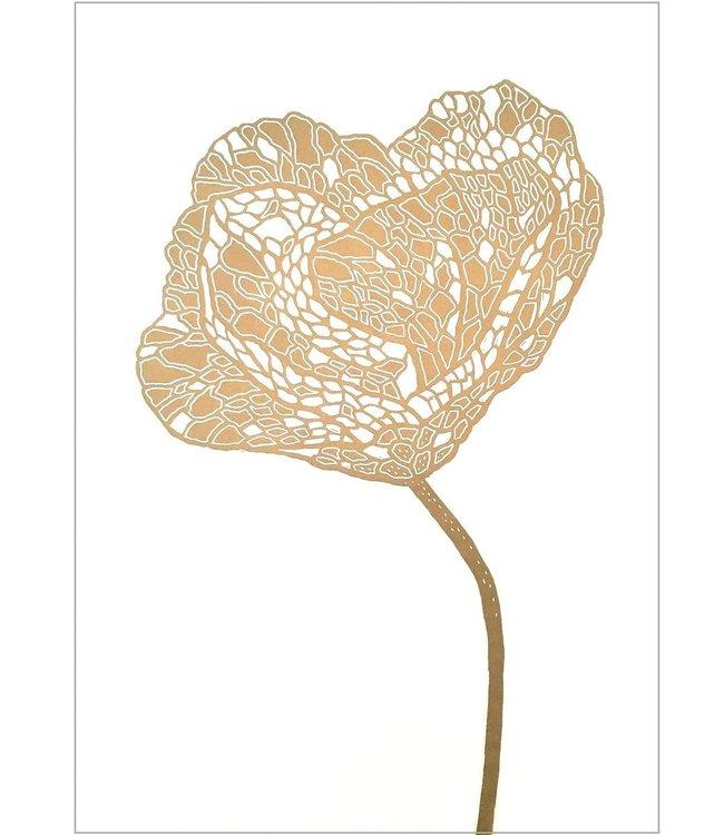Monika Petersen Monika Petersen Lino Print Gold Poppy 2 White 50x70
