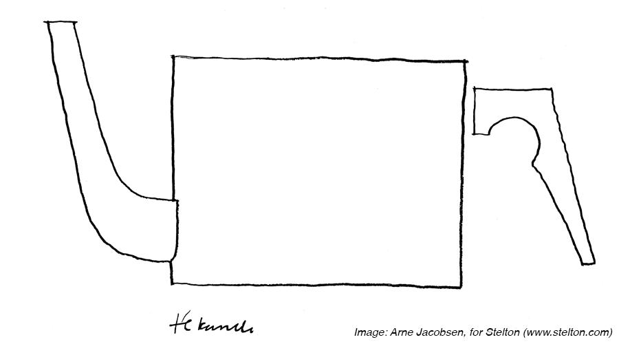 Stelton tekening Arne Jacobsen Danish design blikfang