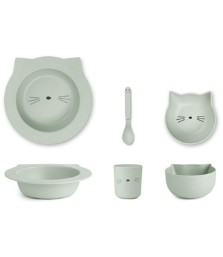 Liewood Liewood Bamboo Cat Dusty Mint Baby Dinner Set