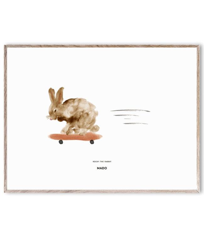 MADO Poster Rocky het konijn  30 x 40 cm