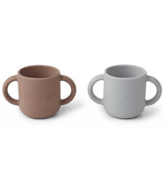 Liewood Liewood Silicone Cups  Cat Dumbo Grey Set of 2