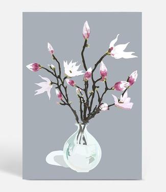 Kortkartellet Kortkartellet Botanica Poster A3  Magnolia Grijs