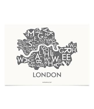 Kortkartellet Kortkartellet Poster London Charcoal 40x55