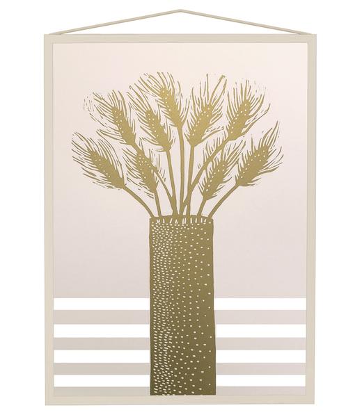 Monika Petersen A3 Handgesneden Lino Print Hazenstaart Goud Pastel Roze
