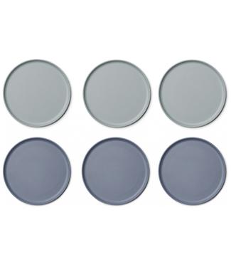 Liewood Liewood Patrick Bamboo Plate  Set of 6 - Blue Mix