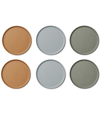 Liewood Liewood Patrick Bamboo Plate  Set of 6 - Blue Multi Mix