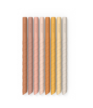 Liewood Liewood Zoe Silicone Straws  Rose Multi Mix Set 8 Pack