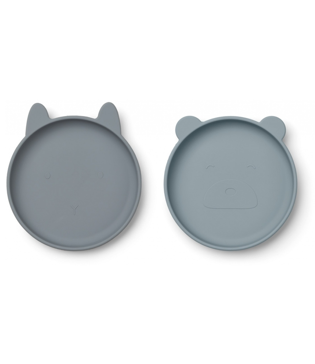 Liewood Liewood Olivia Silicone Plate 2 Pack Blue Mix