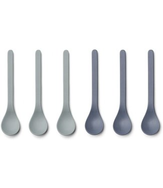 Liewood Liewood Etsu Bamboo Spoon Set of 6 - Blue Mix