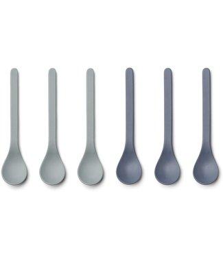 Liewood Liewood Etsu Bamboo Spoon Set of 6 - Blue Mix