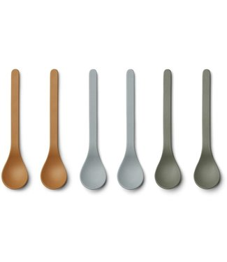 Liewood Liewood Etsu Bamboo Spoon Set of 6 - Blue Multi Mix
