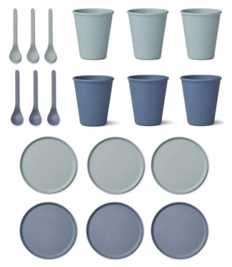 Liewood Discount set - Bamboo Plates / Cups / Spoons - Liewood Blue Mix