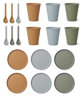 Liewood Discount set - Bamboo Plates / Cups / Spoons - Liewood Blue Multi Mix