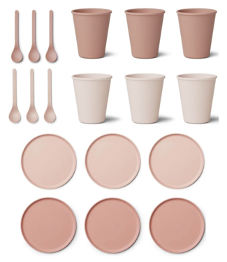 Liewood Discount set - Bamboo Plates / Cups / Spoons - Liewood Coral Blush Mix