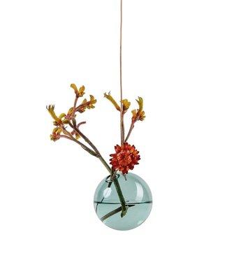 Studio About Studio About Flower bubble glazen vaasje 8cm cyaan